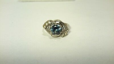 ANTIQUE ART DECO Signed VARI-GEM 10k WHITE GOLD RING Blue Stone