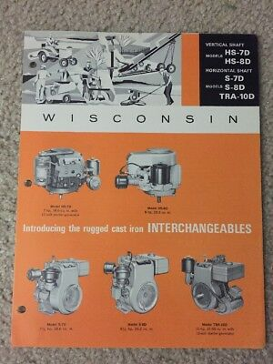 Vintage Wisconsin Model Hs-7D, 8-D Tra-10D Air Cooled Engine Sales Brochure
