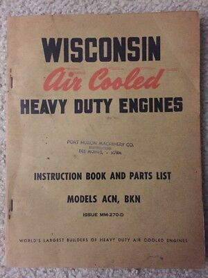 Vintage Wisconsin Model Ack, Bkd Air Cooled Engine Ipl Brochure