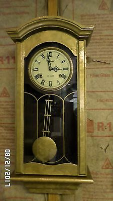 2486M Vtg Centurion 35 Day Clock w/Hammer Chime Gold Marbled Finish Wood EXC !!