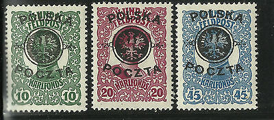 Poland, Austrian Stamps Overprinted For Postal Use 1918 Mh