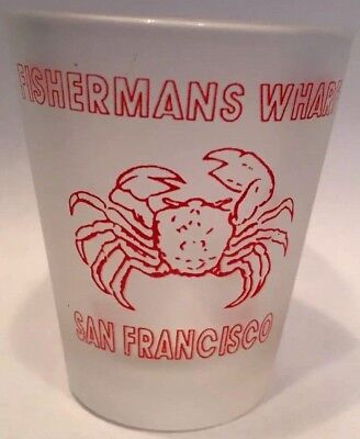 Frosted Fisherman's Wharf Red Crab San Francisco Souvenir Shot Glass Barware