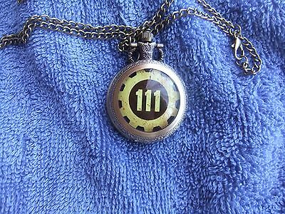 Vintage  Style   **    Vault  111   **    Fob  Watch    With  Chain.