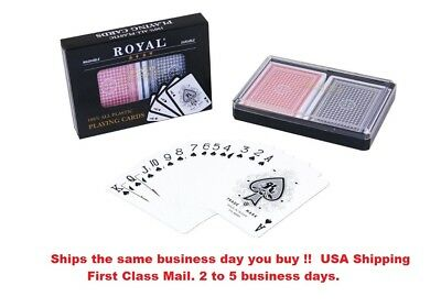 2-Decks Poker Size Royal 100% Plastic Playing Cards Set in Plastic Case New