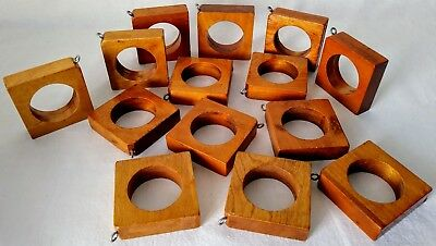 """14 Vintage Wooden Curtain Drapery Rings Square w Eyelets Light Brown 1 3/4"""" Rod"""