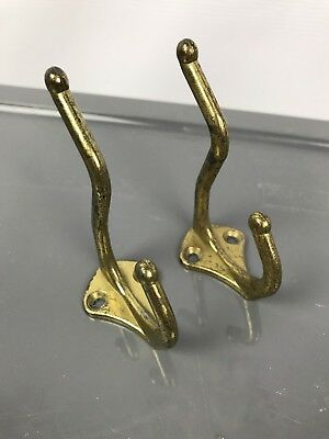 Pair Vintage Small Solid Brass Ball Tipped Double Wall Hook Coat Hat Towel Belt