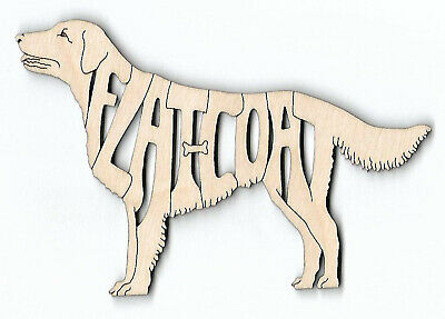 Flat Coated Retriever Dog laser cut and engraved wood Magnet