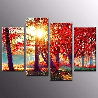 Modern Canvas Prints Photo Oil Painting Coconut Tree Wall Art  4 Panels