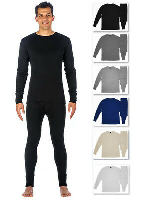 Men's THERMAL TOPS COTTON Designer Long Sleeve Waffle Cold/Work Wear