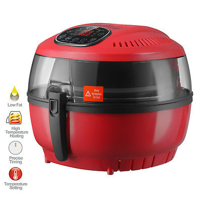 7L Red Electric Digital Air Fryer Oil-Less Griller Roaster Calorie Reducer