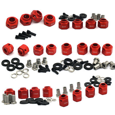 4pcs 6/8/9/10/11/12mm Thick 12mm Hex Wheel Hubs RED For 1:10 RC Traxxas TRX-4