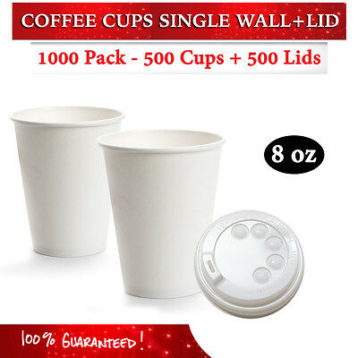 Disposable White 8 oz Single Wall Paper Coffee Cups 500 Pc + 500 Lids Bulk Buy