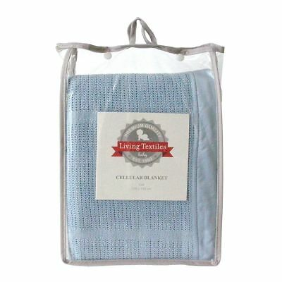 Living Textiles Cot Cellular Baby Blanket Blue