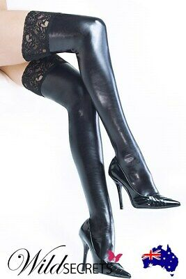 NEW Coquette Wet-Look Stay-Up Thigh Highs with Lace Top, Leather Vinyl Accessory