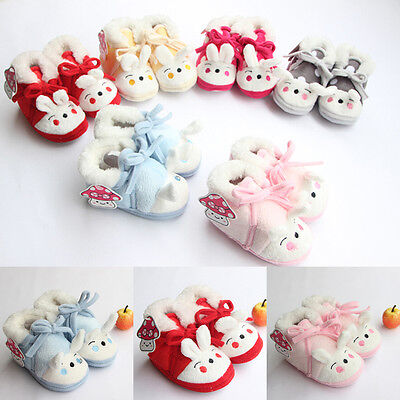 Lovely Baby Boys Girls Winter Warm Plush Slip-on Infant Soft Slipper Crib Shoes