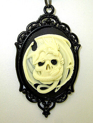 """New  Large 3-D DRAGON on SKULL Cameo Black Pendant adjustable 18"""" - 20"""" Necklace"""