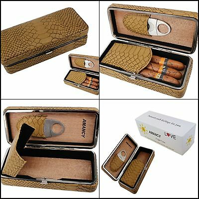 Cigar Humidor Travel Box Cedar Wood Leather Panel 3 Cigars Case With Cutter Set