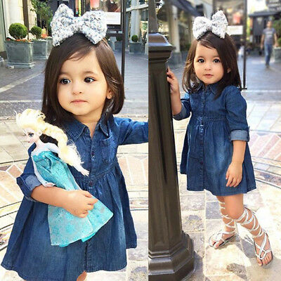 Kids Baby Girls Princess Jeans Casual Dress Denim Party Dresses Clothes Outfits