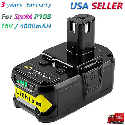 New High Capacity Battery 4.0Ah 18 VOLT P108 for RYOBI 18V ONE PLUS Lithium-Ion