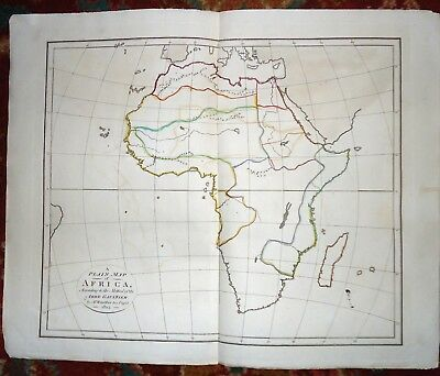 Antique ~ NEW MAP OF AFRICA Handcoloured ABBE GAULTIER & WAUTHIER ~ 1802 No Text