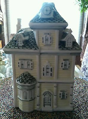 "VICTORIAN HOUSE~Ceramic Cookie Jar Light Yellow With Black Roof Raised 10"" tall."