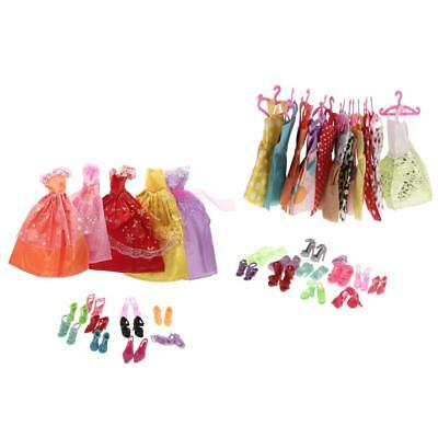 73Pcs Doll Clothes Dress Party Skirts Shoes Clothes Hangers for Barbie Dolls
