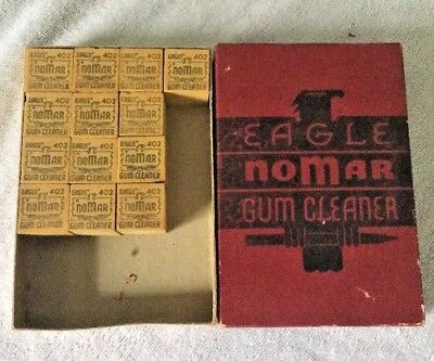 Lot Of 13 Eagle Nomar Vintage 1 X 1 X 1 Gum Eraser Cleaner NOS Plus Box