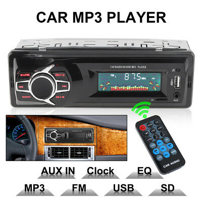 12V LCD Car Radio MP3 Player Stereo Audio In-Dash Aux Input Receiver TF FM USB