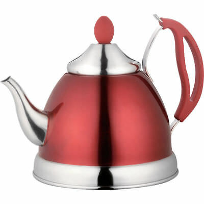 Red Retro Tea Pot Whistling Kettle With Infuser Gas Electric Hob Camping Caravan