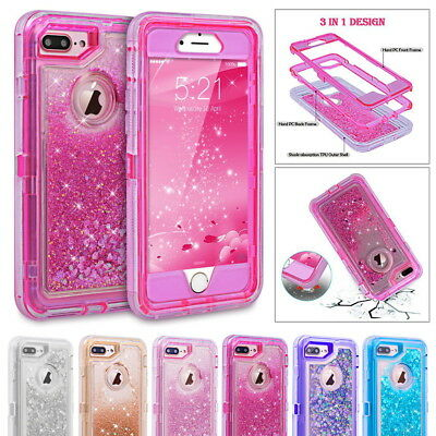 Glitter 3D Bling Flowing Liquid Transparent Shockproof TPU Case Cover For iPhone