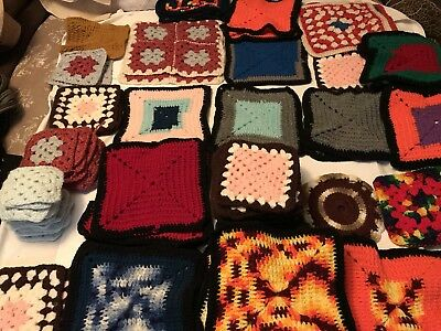 Vintage Crochet Granny Squares Lot of 89 Handmade Retro Afghan Many Colors Size