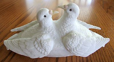 Victorian Dove Dish 2  Doves Black Glass Eyes 8 1/2 x 4 inches Bisque/Alabaster?