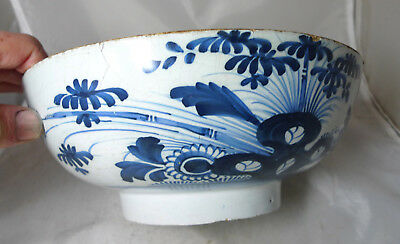 Antique Blue & White Tin Glazed Earthenware Bowl 26cm Diameter A634117