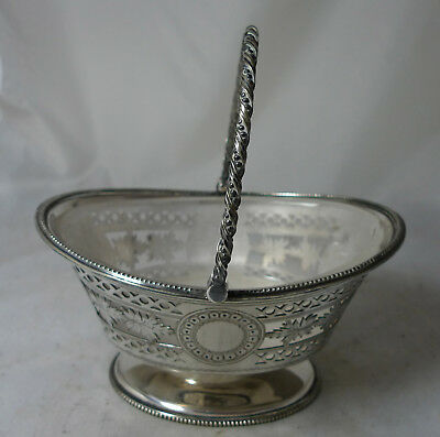 Victorian Silver Plated Sugar Basket & Glass Liner By William Hutton & Sons A638