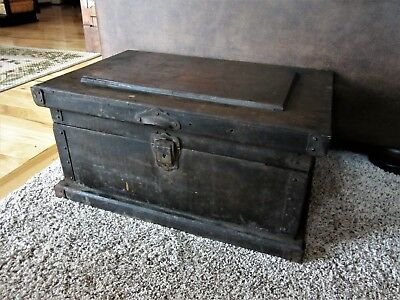 Primitive Wood Cast Iron Tool? Chest Holder Storage Box Hardware Trunk Handles