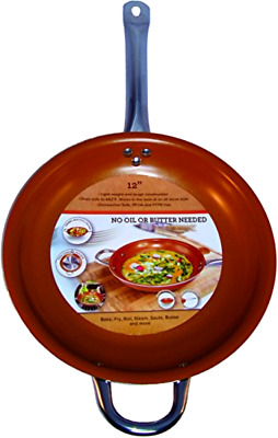 Copper Frying Pan 12-Inch Non Stick Ceramic Infused Titanium Steel Oven Safe...
