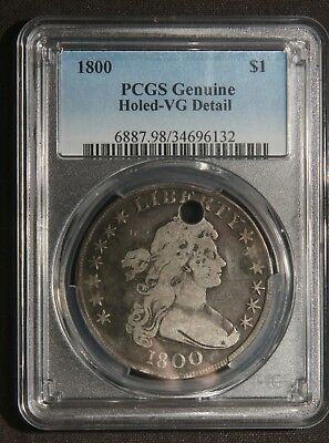 1800 Draped Bust Silver Dollar Pcgs Genuine Holed Vg Detail  Lot 210325