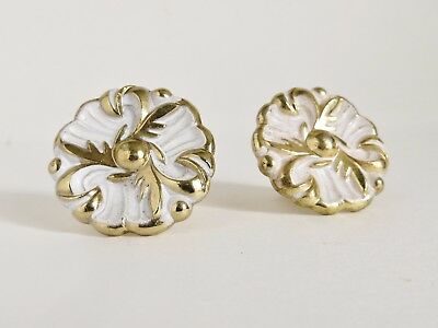 """Two Vintage 1"""" Hollywood Regency Brass Cabinet Pull White & Gold Drawer Knobs"""