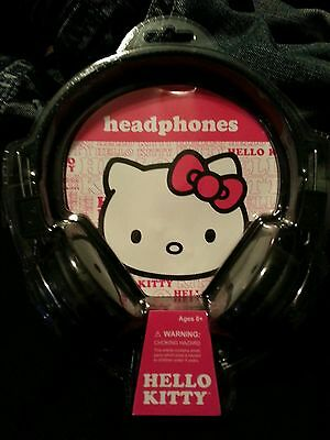 Hello Kitty Bling Print Headphones Headband Black- Ear Cup- Wired Cute