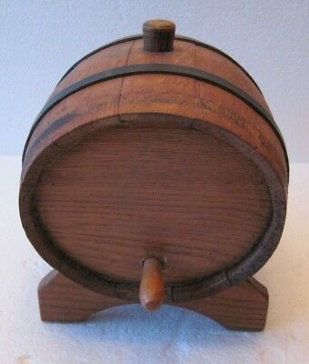 Vintage Antique Small Wooden Oval Barrel Wine Beer Bar Decor