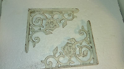 2 Antique Style White Flower Brace Wall Brackets Cast Iron Metal