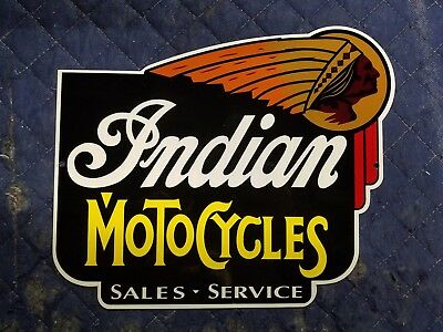 Indian Motorcycles Metal Sign Vintage Porcelain Style Mancave Bike decor art