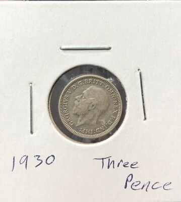 Great Britain George V 3 Pence 1930 AU Silver