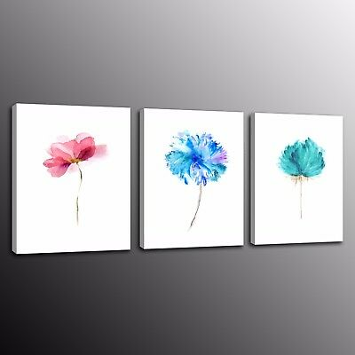 Modern Canvas Prints Wall Art Painting Picture Abstract Watercolor Flowers 3pcs