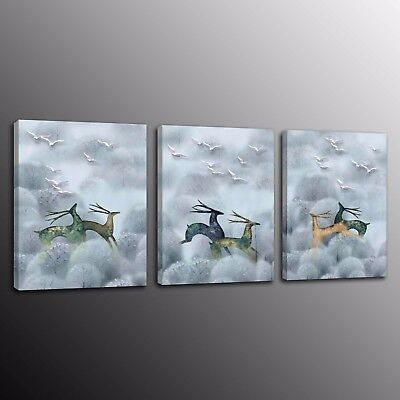 Home Decor Canvas Animals deer Prints Painting Wall Art Picture 3 Pieces