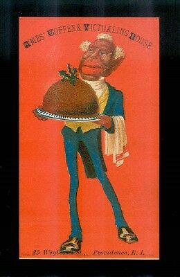 Black Butler Serves Christmas Plum Pudding-Victorian Black Americana Trade Card