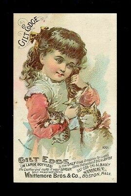 Little Girl With Mama Cat & Her Kittens-Victorian Trade Card