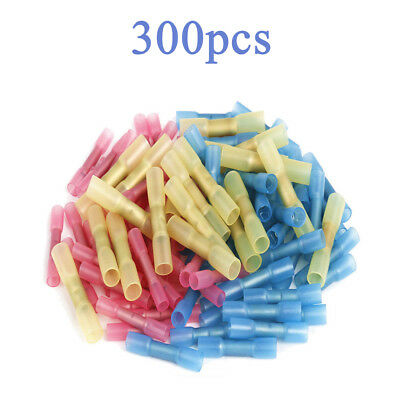 300X Heat Shrink Insulated Butt Crimp Wire Connector Terminals Assortment NEW