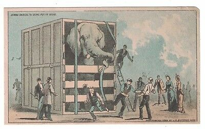 """Jumbo the Elephant Trade Card PT Barnum """"Jumbo Objects to Being Put in Irons"""""""
