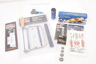 Cub Scout Pinewood Derby Kit w/Car Tool Set, Decal's, Lubricant! & More Wheels